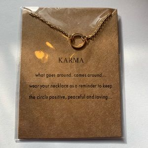 Karma Necklace Gold Chain Small Ring Pendant